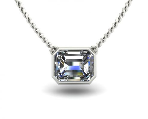 BEZEL SET RADIANT CUT DIAMOND SOLITAIRE CUSTOM NECKALCE