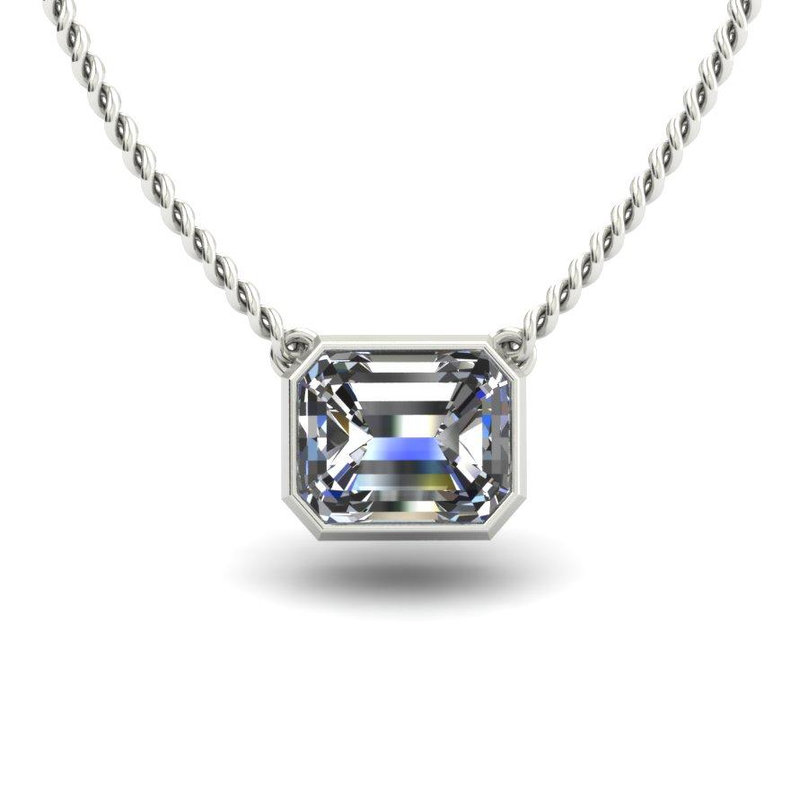 BEZEL SET RADIANT CUT DIAMOND SOLITAIRE CUSTOM NECKALCE