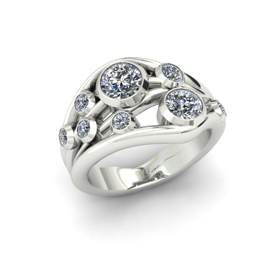 MULTI BEZEL DIAMOND WAVE CUSTOM FASHION RING