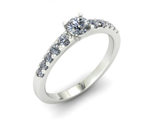 SIMPLE DIAMOND SHANK CUSTOM ENGAGEMENT RING