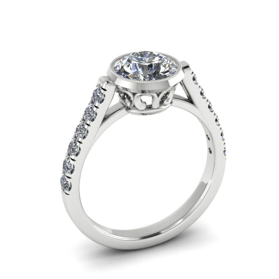 MODERN FILIGREE CUSTOM ENGAGEMENT RING