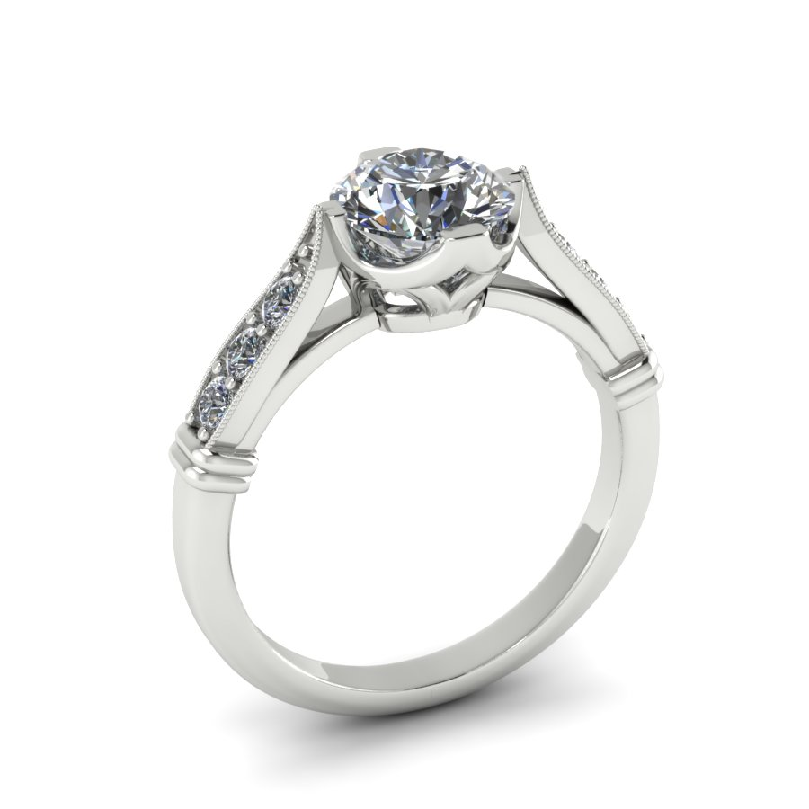 CLASSIC COMPASS STYLE CUSTOM ENGAGEMENT RING