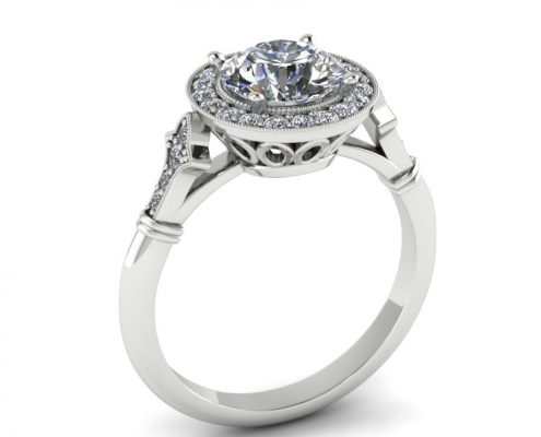 MILGRAIN TRIMMED HALO CUSTOM ENGAGEMENT RING