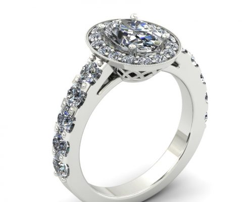 OVAL SHAPED DIAMOND HALO CUSTOM ENGAGEMENT RING