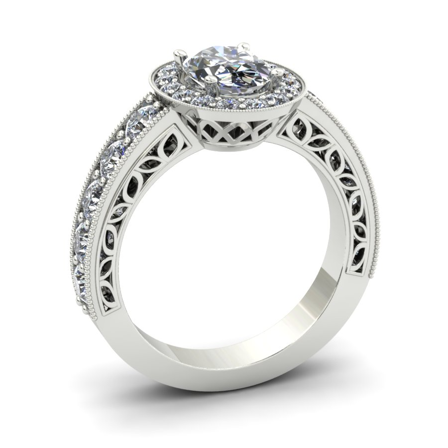 FILIGREE INSPIRED OVAL HALO CUSTOM ENGAGEMENT RING