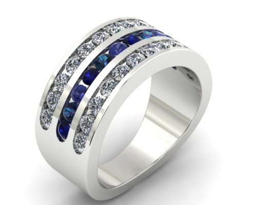 WIDE DIAMOND ACCENT CUSTOM MOTHER'S RING