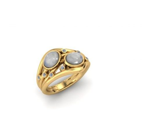 MOONSTONE BEZEL SET CUSTOM FASHION RING