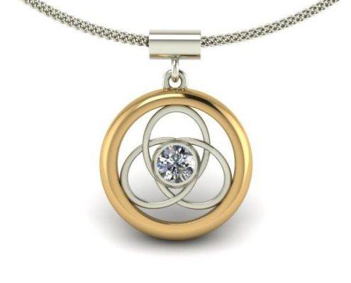 TWO-TONE DIAMOND SOLITAIRE INTERLOCKING PENDANT