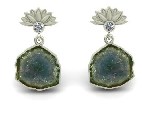 LOTUS FLOWER TOURMALINE CUSTOM EARRINGS