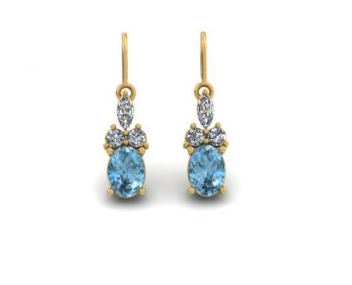 BLUE TOPAZ AND DIAMOND LEVERBACK EARRINGS