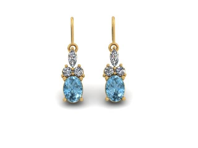 BLUE TOPAZ AND DIAMOND LEVERBACK EARRINGS