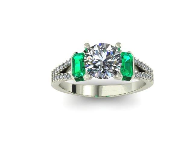 EMERALD ACCENT DIAMOND ENGAGEMENT RING