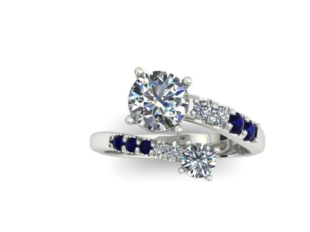 BYPASS DIAMOND AND SAPPHIRE FASHION RING