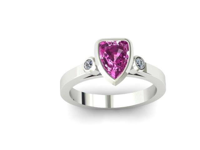 SHIELD CUT PINK TOPAZ CUSTOM FASHION RING