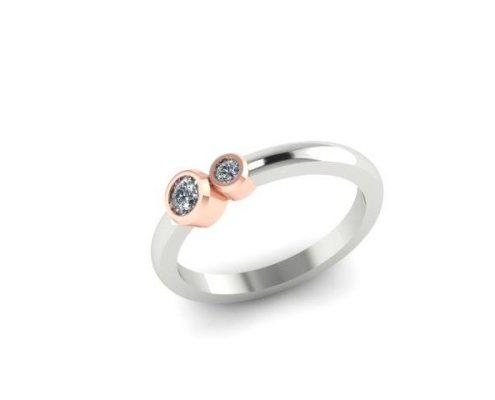 SIMPLISTIC MODERN TWO STONE DIAMOND CUSTOM FASHION RING