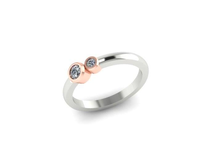 SIMPLISTIC MODERN TWO STONE DIAMOND CUSTOM FASHION RING