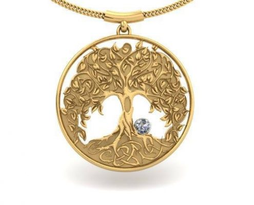 YELLOW GOLD DIAMOND TREE PENDANT