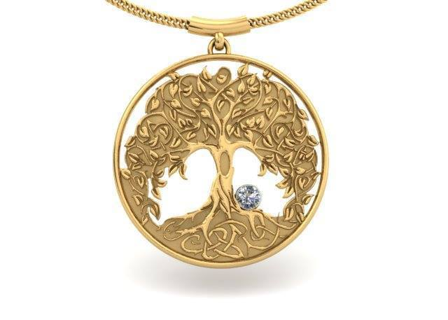 YELLOW GOLD DIAMOND TREE PENDANT