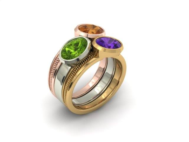 TRI-COLOR BEZEL MOTHER'S STACKABLE CUSTOM RINGS