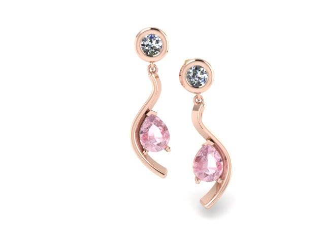 PINK TOPAZ AND ROSE GOLD CURVED CUSTOM EARRINGS
