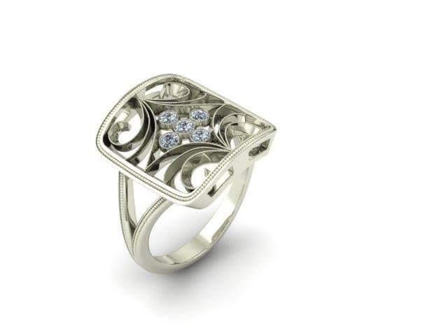 FILIGREE DIAMOND CUSTOM FASHION RING