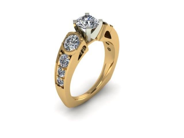 MODERN THREE STONE DIAMOND ENGAGEMENT RING