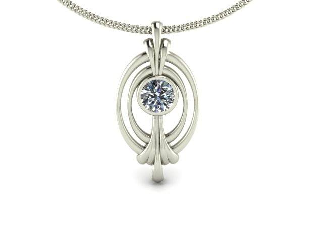 DOUBLE FRAME DIAMOND SOLITAIRE CUSTOM PENDANT