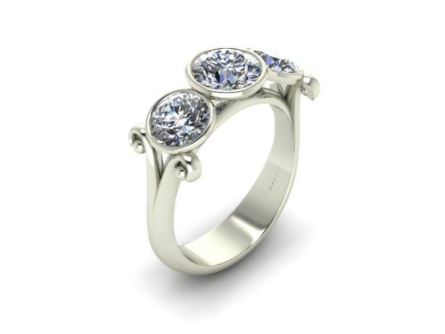 THREE STONE BEZEL SET CUSTOM ENGAGEMENT RING