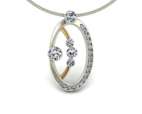 TWO-TONE MODERN DIAMOND CUSTOM PENDANT