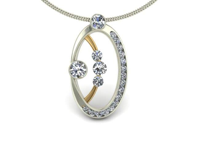 TWO-TONE MODERN DIAMOND CUSTOM PENDANT