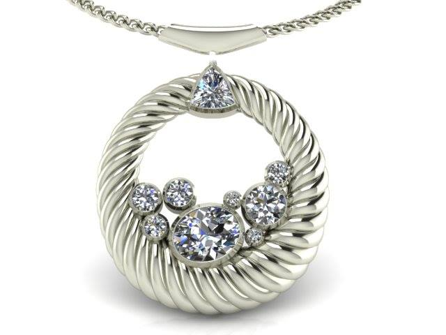 TWISTED CIRCLE DIAMOND CLUSTER PENDANT
