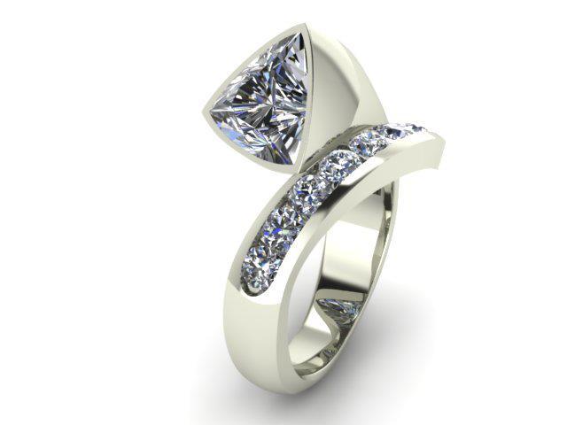 MODERN TRILLION CUT DIAMOND CUSTOM FASHION RING
