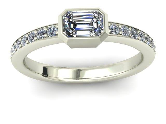 BEZEL SET EMERALD CUT DIAMOND ENGAGEMENT RING