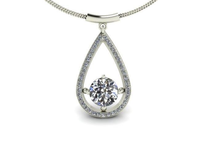 TEARDROP SHAPED DIAMOND CUSTOM PENDANT