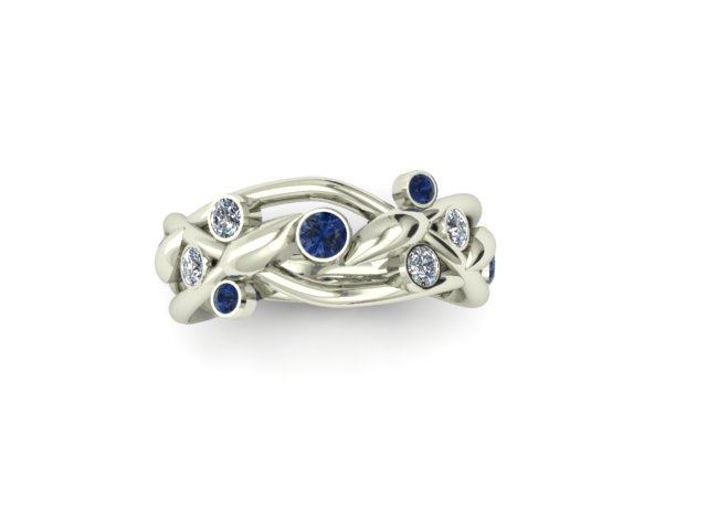 SAPPHIRE AND DIAMOND WOVEN VINE FASHION RING