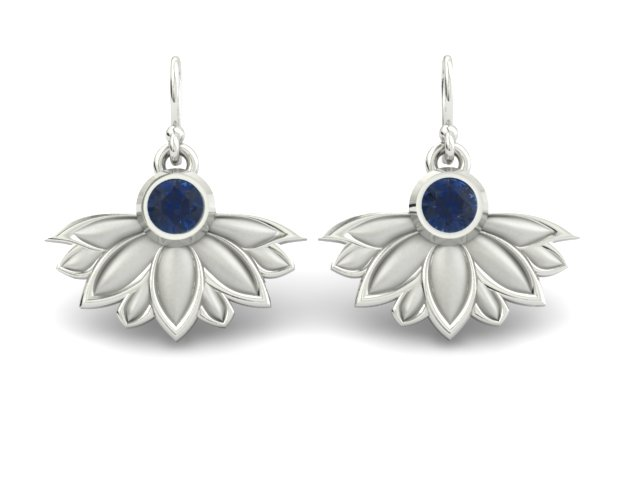 SAPPHIRE LOTUS FLOWER CUSTOM EARRINGS