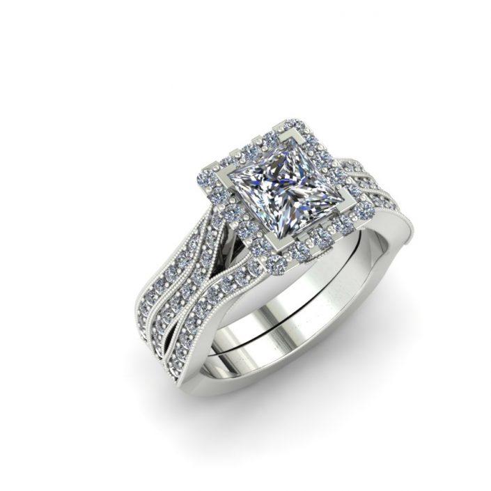 PRINCESS CUT HALO WEAVE CUSTOM DIAMOND BRIDAL SET
