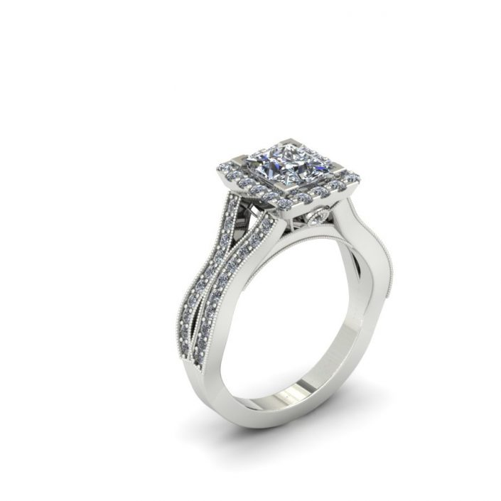 PRINCESS CUT HALO WEAVE DIAMOND ENGAGEMENT RING