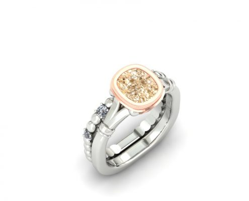 CUSHION CUT CHAMPAGNE DIAMOND CUSTOM BRIDAL SET