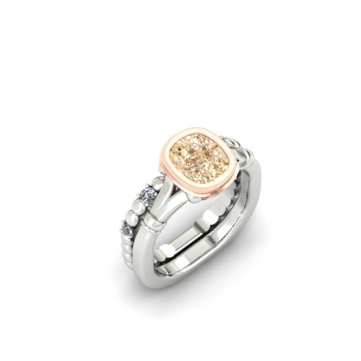 CUSHION CUT CHAMPAGNE DIAMOND CUSTOM BRIDAL SET