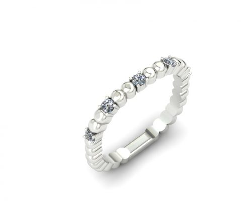 BEADED PLATINUM SQUARE SHANK CUSTOM DIAMOND WEDDING BAND