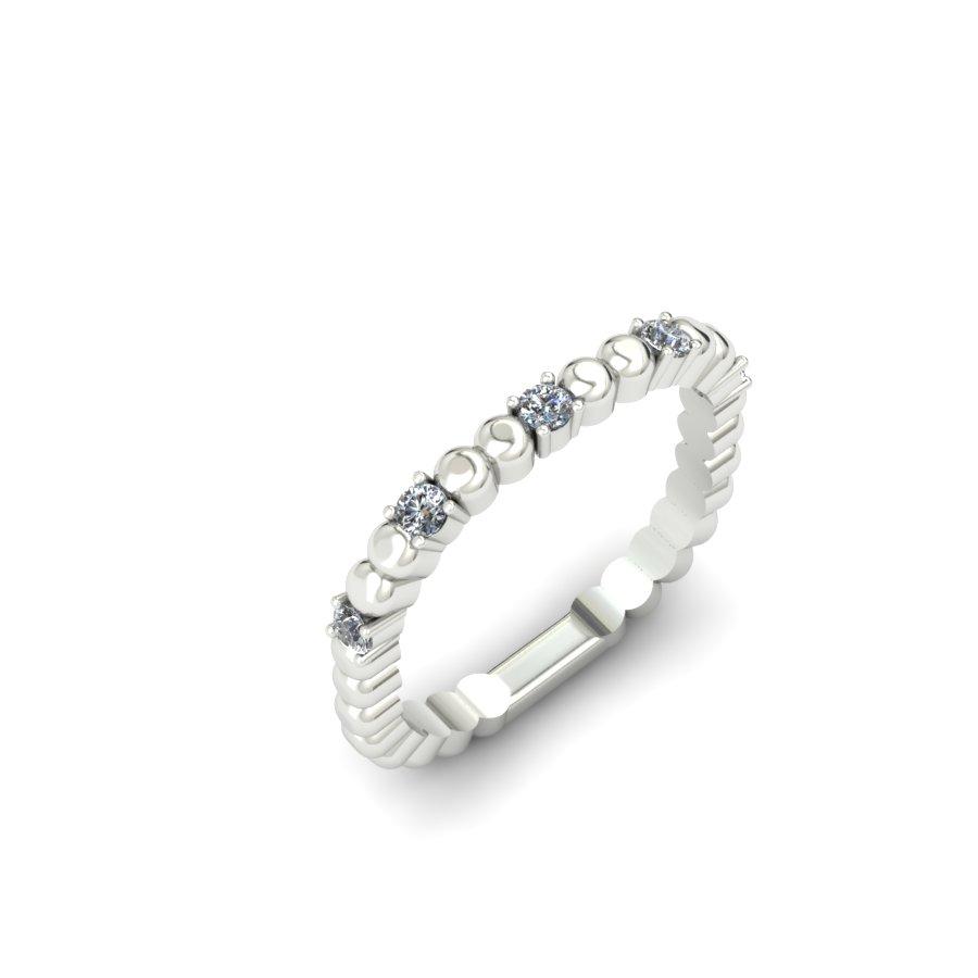 BEADED PLATINUM SQUARE SHANK CUSTOM DIAMOND WEDDING BAND