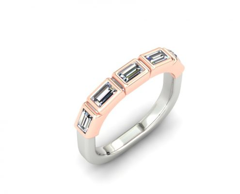 ROSE GOLD AND PLATINUM BAGUETTE DIAMOND CUSTOM WEDDING RING