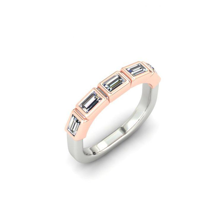 ROSE GOLD AND PLATINUM BAGUETTE DIAMOND CUSTOM WEDDING RING