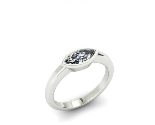 EAST TO WEST MARQUIS DIAMOND SOLITAIRE CUSTOM ENGAGEMENT RING