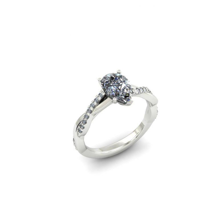 PEAR SHAPED TWISTING DIAMOND CUSTOM ENGAGEMENT RING
