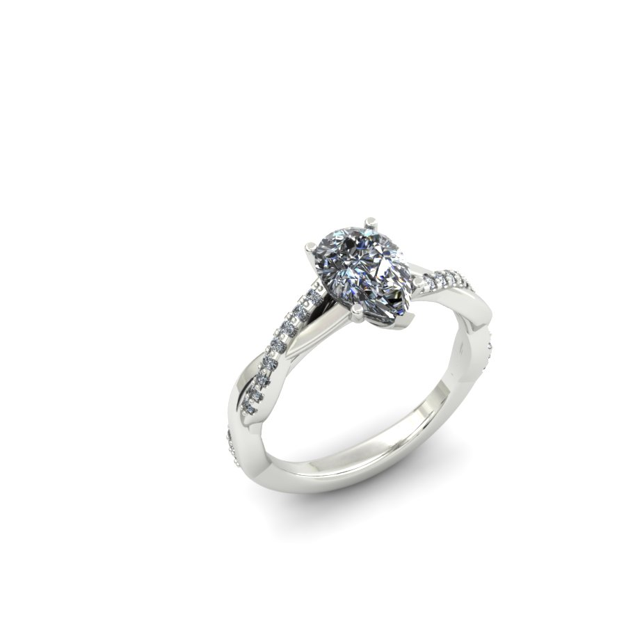 PEAR SHAPED TWISTING DIAMOND CUSTOM ENGAGEMENT RING