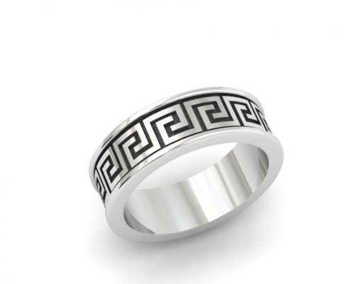 GREEK KEY STERLING SILVER CUSTOM GENTS RING