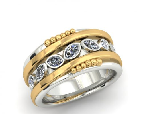 TWO-TONE MARQUIS DIAMOND ORGANIC STYLE CUSTOM RING