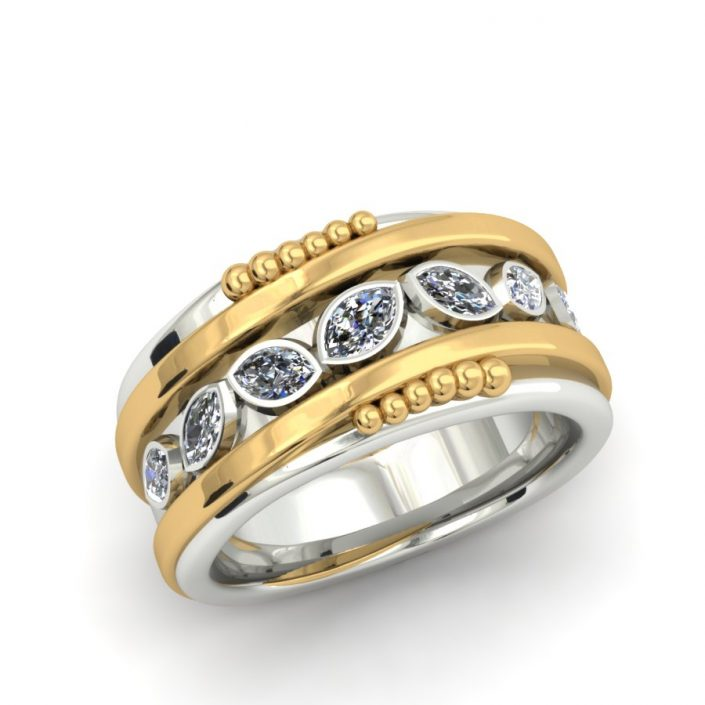 TWO-TONE MARQUIS DIAMOND ORGANIC STYLE CUSTOM RING